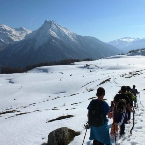 Snowshoesing spring hiking in Val Chisone
