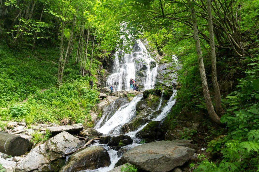 Waterfall trek in the Alps 1